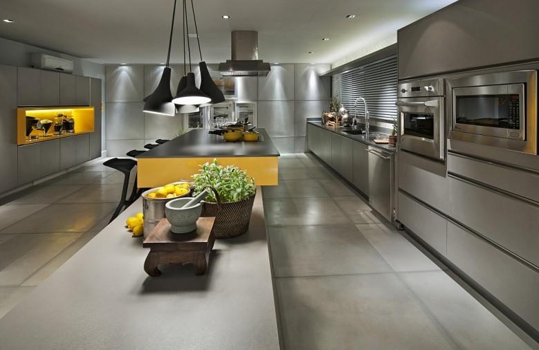 Plan de travail de cuisine en quartz Silestone Cemento